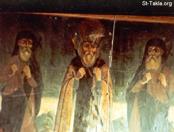 St-Takla.org Image: The three Macarius Saints، right to left: St. Makarios of Alexandria، St. Makarious the Bishop، and Saint Macarious the Great - modern Coptic art icon صورة في موقع الأنبا تكلا: الثلاثة مقارات القديسين: القديس مقاريوس الإسكندري، القديس مكاريوس الأسقف، القديس الأنبا مقار الكبير - أيقونة قبطية حديثة