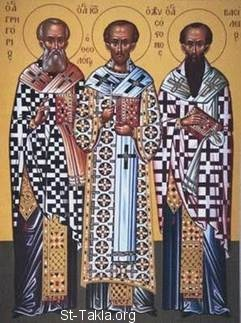 St-Takla.org Image: Three Holy Hierarchs (the Three Holy Fathers, Great Hierarchs and Ecumenical Teachers) Saints: St. Basil the Great (Basil of Caesarea), St. Gregory the Theologian (the Nazianzus), and St. John Chrysostom ���� �� ���� ������ ����: ������� ������� ������ ������ �������: ������ �������� ������ - ������ ��������� ���������� (���������� �������� ��������) - ������ ����� ���� ����