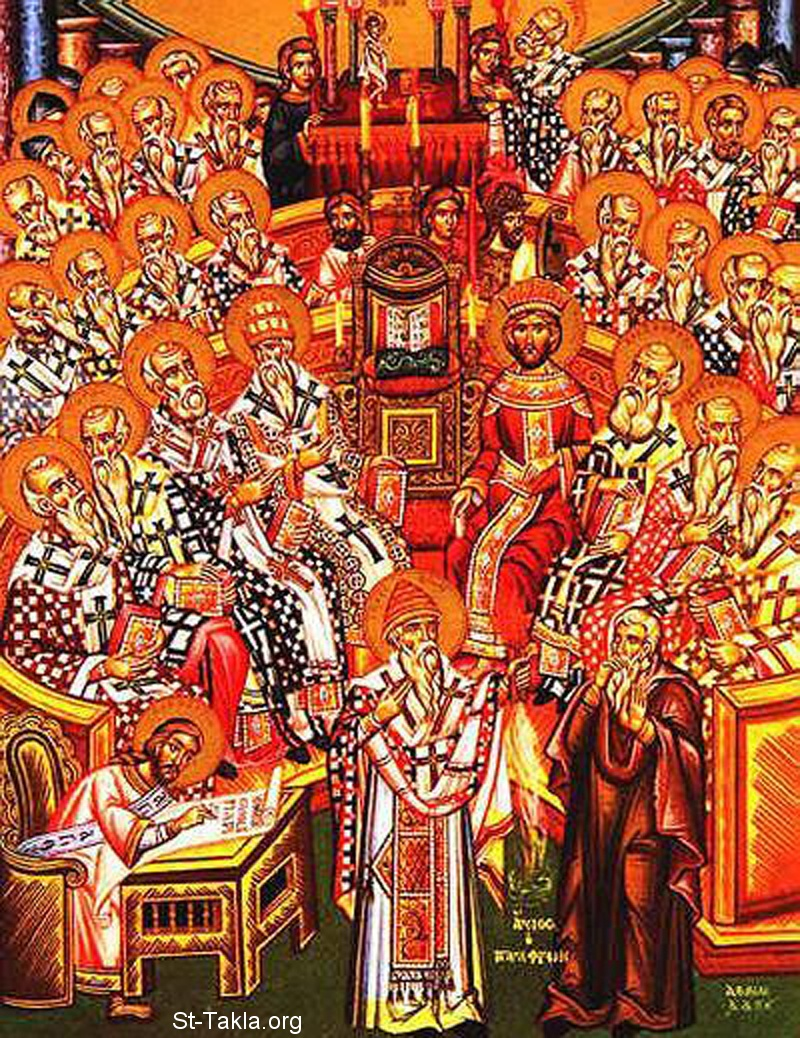 St-Takla.org Image: Council of Nicaea icon صورة: أيقونة مجمع نيقية