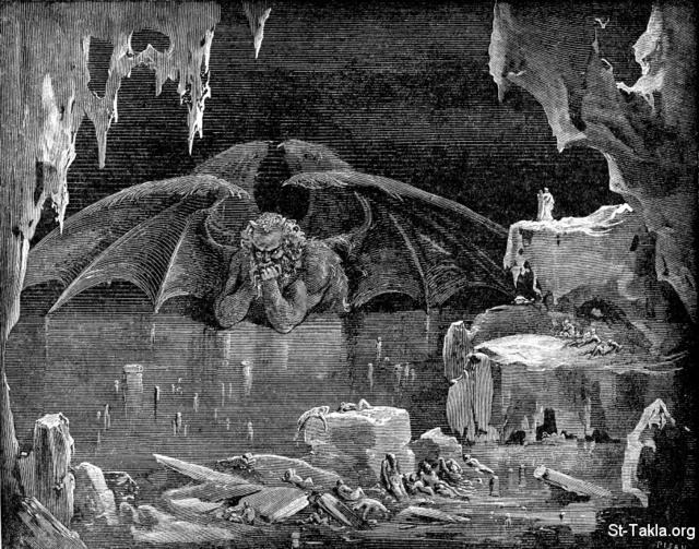 Image: Inferno of Divine Comedy Dante Alighieri Lucifer King of Hell by Gustave Dore صورة لوسيفر ملك جهنم من الكوميديا الإلهية