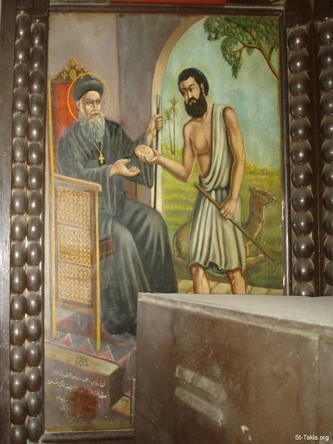 St-Takla.org Image: Coptic icon of Saint Reweiss with His Holiness Pope Methaos 87, donated by The Rise of the Churches Coptic Orthodox Assoc. in Egypt (1665 m./1949 approx.), by Sadek Farag - from St. Reweiss Church, Abbassia, Cairo, Egypt - October 2011 - Photograph by Michael Ghaly for St-Takla.org ���� �� ���� ������ ����: ������ ���� ���� �� ������ ������ ����� �������� 87� ����� �� ���� ���� ������� ������� ����������� �������� ���� (������ ��� 1665 �. - 1949 �.)� ��� ������ ���� ��� - �� ���� - �� ��� ����� ������ ���ӡ ������������ ��������ɡ ������ɡ ��� - ������ 2011 - ����� ����� ���� ��: ���� ������ ���� �������