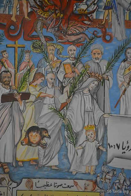 "St-Takla.org Image: Saints: St. Luke the Apostle, St. Mark the Apostle, St. Matthew the Apostle, St. Mary the Virgin, St. Peter, St. Abram of Fayoum, King Constantine: ""After these things I looked, and behold, a great multitude which no one could number, of all nations, tribes, peoples, and tongues, standing before the throne and before the Lamb, clothed with white robes, with palm branches in their hands"" (Revelation 7: 9) - Details from the icon of the events of the Apocalypse (Book of Revelation), by Father Makarious Al-Baramousy, Baramous Monastery, Natroun Valley, Egypt - Photograph by Michael Ghaly for St-Takla.org, October 21, 2018. صورة في موقع الأنبا تكلا: الآباء القديسين: القديس الشهيد مرقس الإنجيلي - القديس متى الإنجيلي - القديسة مريم العذراء - القديس بطرس الرسول - الأنبا ابرآم أسقف الفيوم - القديسة هيلانة - قسطنطين الملك: ""بعد هذا نظرت وإذا جمع كثير لم يستطع أحد أن يعده، من كل الأمم والقبائل والشعوب والألسنة، واقفون أمام العرش وأمام الخروف، متسربلين بثياب بيض وفي أيديهم سعف النخل"" (الرؤيا 7: 9) - تفاصيل من أيقونة أحداث سفر رؤيا يوحنا اللاهوتي، رسم الأب الراهب مكاريوس البرموسي، مضيفة دير البراموس، وادي النطرون، مصر - تصوير مايكل غالي لموقع الأنبا تكلاهيمانوت، 21 أكتوبر 2018 م."