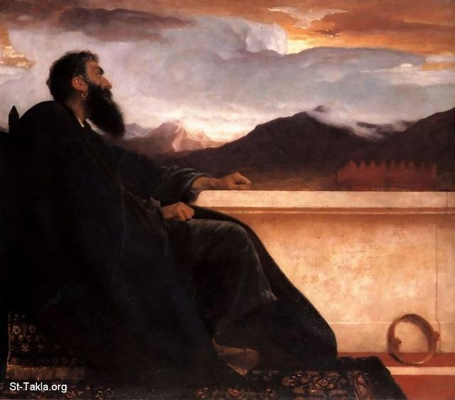 St-Takla.org Image:Frederick Leighton painting: David, 1865 - David arose from his bed and walked on the roof of the king's house, before His sin with Bathsheba صورة في موقع الأنبا تكلا: داود الملك فوق السطح قبل سقوطه مع بثشبع