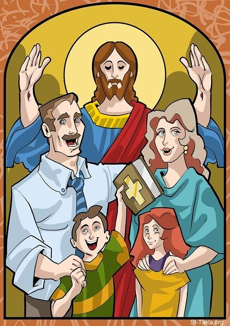 St-Takla.org Image: The Christian Family with Jesus Christ, 2012, used with permission - by Mina Anton ���� �� ���� ������ ����: ������� �������� �� ����� ���� �����͡ 2012� ������ ���� - ��� ������ ���� �����