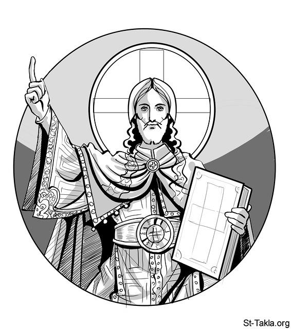 St-Takla.org Image: Jesus Christ Pantocrator the Almighty, illustration, 2012, used with permission - by Mina Anton ���� �� ���� ������ ����: ����� ���� ������ ������������� ������ ���� ��� ������ 2012� ������ ���� - ��� ������ ���� �����
