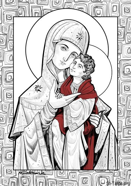 St-Takla.org Image: Our Lady Virgin Mary, Mother of God (Theotokos), digital illustration, 2012, used with permission - by Mina Anton ���� �� ���� ������ ����: ������� ���� ������� ��������� ������ ���� �����͡ ��� ���� ������ 2012� ������ ���� - ��� ������ ���� �����