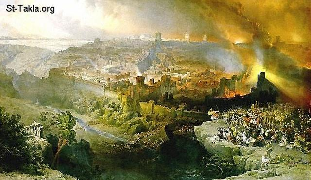 St-Takla.org Image: The Siege and Destruction of Jerusalem by the Romans Under the Command of Titus, A.D. 70, Oil on canvas, 1850 - David Roberts ���� �� ���� ������ ����: ���� ���� ����� ������� ��� �� ������� ������ ���� ��� 70 � ��� ������ ����� ������ӡ 1850