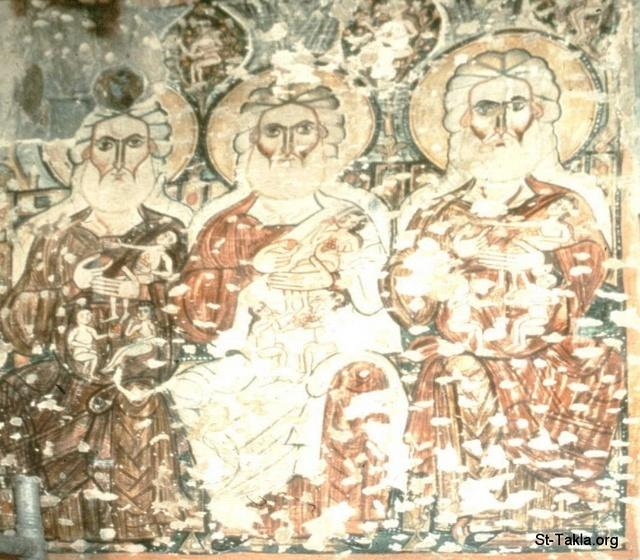 St-Takla.org Image: Ancient Coptic icon: Monastery of the Syrians, church of the Holy Virgin Mary, the patriarchs Abraham, Isaac, and Jacob in paradise ���� �� ���� ������ ����: ������ ����� ����� ���� ������ ����� ������ ������ ������� ���ޡ ����� �� ������ - ��� ������� ���