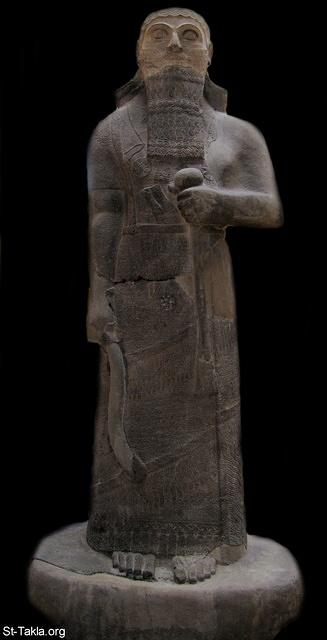 "St-Takla.org Image: Basalt statue of King Shalmaneser III, 858-824 BCE (Neo-Assyrian Period). Found in Assur (Qala't Sharqat). Today it is displayed in the Istanbul Archaeological Museums, in the Museum of the Ancient Orient section. Captioned with details of the king giving a brief account of his genealogical titles and characteristics as follows: ""Shalmaneser, the great king, the mighty king, king of all the four regions, the powerful and the mighty rival of the princes of the whole universe, the great ones, the kings, son of Assur-Naşirapli, king of universe, king of Assyria, grandson of Tukulti-Ninurta, king of universe, king of Assyria."" The inscription continues with describing his campaigns and deeds of the lands of Urartu, Syria, Namri, Que and Tabal, and ends with this: ""At that time I rebuilt the walls of my city Ashur from their foundations to their summits. I made an image of my royal self and set it up by the metal-workers gate."" ���� �� ���� ������ ����: ����� �� ��� ������� ���� ����� ������ ������ (�������) ��� �� ������ �� ��� 858-824 (�������� �������). �������� ����� �� ���� (���� �����)� ����� ����� �� ���� ������� ������ �� ����� ������ ������. ��� ����� ������� ����� ���� ��� ������ �� ����� ���� �������: ""������ѡ ����� �����ѡ ����� ������ ��� ������� ������ ������� ����� ������� ������ �� ����� �������� �����ߡ ��� ����-��������� ��� ����� ��� ���ѡ ���� �������-������ǡ ��� ����� ��� ����"". ����� ����� ���� ������ ������� �� ����� ������� ����ǡ ����� �� ����� ������ ����� �������: ""�� ����� ���� ���� ��� ����� ���� ������ �� �������� ��� �����. ���� ���� �� ���� ������ɡ ������� ��� ����� ���� ������""."