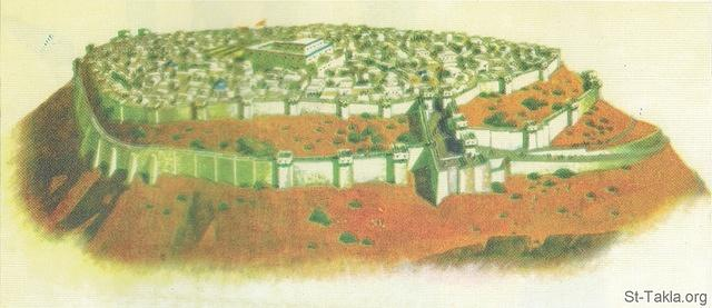 St-Takla.org Image: General preview of the walls of Jerusalem before the captivity. صورة في موقع الأنبا تكلا: رسم عام لأسوار أورشليم قبل السبي.