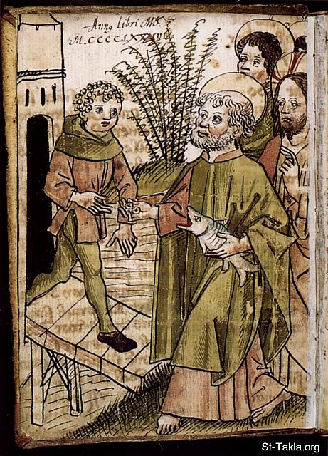 "St-Takla.org Image: Apostle Peter paying the temple tax with coin from the fish's mouth - by Augustin Tünger, 1486 (Facetiae Latinae et Germanicae, Konstanz): ""When they had come to Capernaum, those who received the temple tax came to Peter and said, ""Does your Teacher not pay the temple tax?"" He said, ""Yes."" And when he had come into the house, Jesus anticipated him, saying, ""What do you think, Simon? From whom do the kings of the earth take customs or taxes, from their sons or from strangers?"" Peter said to Him, ""From strangers."" Jesus said to him, ""Then the sons are free. Nevertheless, lest we offend them, go to the sea, cast in a hook, and take the fish that comes up first. And when you have opened its mouth, you will find a piece of money; take that and give it to them for Me and you."""" (Matthew 17: 24-27) صورة في موقع الأنبا تكلا: بطرس الرسول يدفع الضرائب من الإستار الذي وجده في فم سمكة - رسم أجوستين تونجر، 1486 (من كتاب مشاهدات لاتينية وألمانية، كونستانز): ""ولما جاءوا إلى كفرناحوم تقدم الذين يأخذون الدرهمين إلى بطرس وقالوا: «أما يوفي معلمكم الدرهمين؟» قال: «بلى». فلما دخل البيت سبقه يسوع قائلا: «ماذا تظن يا سمعان؟ ممن يأخذ ملوك الأرض الجباية أو الجزية، أمن بنيهم أم من الأجانب؟» قال له بطرس: «من الأجانب». قال له يسوع: «فإذا البنون أحرار. ولكن لئلا نعثرهم، اذهب إلى البحر وألق صنارة، والسمكة التي تطلع أولا خذها، ومتى فتحت فاها تجد إستارا، فخذه وأعطهم عني وعنك»"" (متى 17: 24-27)"