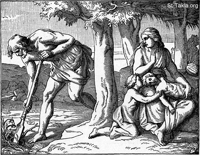 "St-Takla.org Image: Eve with her two little boys (Cain and Abel) is sitting under a tree. Adam is digging in the ground, ""Adam at Labor"" - from ""Bible Pictures"" book, by W. A. Foster, 1897. صورة في موقع الأنبا تكلا: حواء مع ولديها: قايين وهابيل، وآدم يحفر في الأرض - من كتاب ""صور الكتاب المقدس""، و. أ. فوستر، 1897."