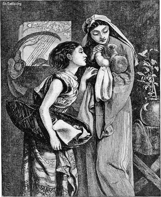 "St-Takla.org Image: Jocheved, Miriam, and Moses. Caption: ""This little baby is in his mother's arms. She is an Israelite. She loves her little boy very much, but she is afraid to keep him with her. A wicked king now rules over Egypt. He kills all the little boys of the Israelites. How will the baby's mother save him from being killed? She will put him in a little ark, or boat, and hide him by the river bank."" - from ""Bible Pictures"" book, by W. A. Foster, 1897 صورة في موقع الأنبا تكلا: يوكابد أم موسى، مريم، موسى: هذا الطفل الغير بين يدي أمه الإسرائيلية التي تحبه. ولكنها خائفة من أن تبقيه معها، بسبب حاكم مصر القاسي الذي يريد قتل أطفال بني إسرائيل. فأنقذته عن طريق وضعه في سلة في النيل - من كتاب ""صور الكتاب المقدس""، و. أ. فوستر، 1897"