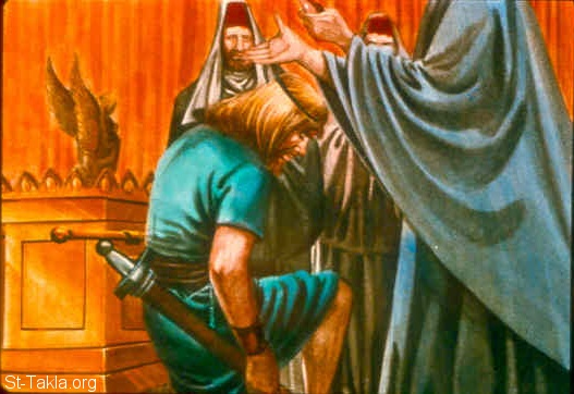 "St-Takla.org Image: Then the men of Judah came, and there they anointed David king over the house of Judah. And they told David, saying, ""The men of Jabesh Gilead were the ones who buried Saul."" (2 Samuel 2:4) صورة في موقع الأنبا تكلا: رجال يهوذا يمسحون داود ملكا على بيت يهوذا (صموئيل الثاني 2: 4)"