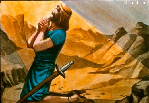 "St-Takla.org Image: So David inquired of the LORD, saying, ""Shall I go up against the Philistines? Will You deliver them into my hand?"" And the LORD said to David, ""Go up, for I will doubtless deliver the Philistines into your hand."" (2 Samuel 5:19) صورة في موقع الأنبا تكلا: داود يسأل الرب من اجل الحرب مع الفلسطينيين (صموئيل الثاني 5: 19)"