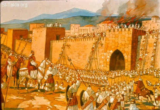 St-Takla.org Image: It happened in the spring of the year, at the time when kings go out to battle, that David sent Joab and his servants with him, and all Israel; and they destroyed the people of Ammon and besieged Rabbah. But David remained at Jerusalem. (2 Samuel 11:1) صورة في موقع الأنبا تكلا: بنو إسرائيل يحاصرون مدينة ربة (بني عمون) (صموئيل الثاني 11: 1)