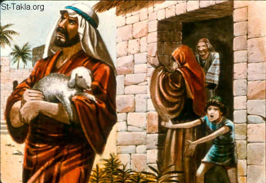 "St-Takla.org Image: Nathan: ""And a traveler came to the rich man, who refused to take from his own flock and from his own herd to prepare one for the wayfaring man who had come to him; but he took the poor man's lamb and prepared it for the man who had come to him."" (2 Samuel 12:4) صورة في موقع الأنبا تكلا: ناثان النبي ""أخذ الرجل الغني بقرة الرجل الفقير"" (صموئيل الثاني 12: 4)"