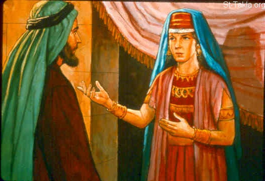 "St-Takla.org Image: After this Absalom the son of David had a lovely sister, whose name was Tamar; and Amnon the son of David loved her. Amnon was so distressed over his sister Tamar that he became sick; for she was a virgin. And it was improper for Amnon to do anything to her. But Amnon had a friend whose name was Jonadab the son of Shimeah, David's brother. Now Jonadab was a very crafty man. And he said to him, ""Why are you, the king's son, becoming thinner day after day? Will you not tell me?"" Amnon said to him, ""I love Tamar, my brother Absalom's sister."" So Jonadab said to him, ""Lie down on your bed and pretend to be ill. And when your father comes to see you, say to him, 'Please let my sister Tamar come and give me food, and prepare the food in my sight, that I may see it and eat it from her hand.' "" (2 Samuel 13:1-5) صورة في موقع الأنبا تكلا: ""أمنون"" بن داود يحب ثامار أخت أبشالوم (صموئيل الثاني 13: 1-5)"