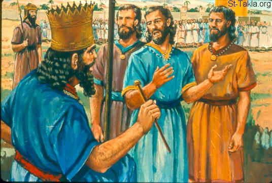 St-Takla.org Image: The children of Israel asking Rehoboam to lighten the burdensome service of his father, and his heavy yoke which he has put on them (1 Kings 12:1-5) صورة في موقع الأنبا تكلا: بنو إسرائيل يتكلمون مع رحبعام أن يخفف عنهم (ملوك الأول 12: 1-5)