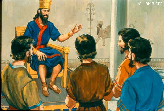 St-Takla.org Image: King Rehoboam rejected the advice which the elders had given him to lighten the burdensome service of his father, and consulted the young men. (1 Kings 12:8-11) صورة في موقع الأنبا تكلا: الشبان ينصحون رحبعام أن يقسو على الشعب (ملوك الأول 12: 8-11)