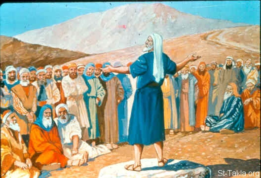 "St-Takla.org Image: Then Elijah said to all the people, ""Come near to me."" So all the people came near to him. And he repaired the altar of the LORD that was broken down (1 Kings 18:30) صورة في موقع الأنبا تكلا: إيليا يطلب من الشعب أن يتقدموا إليه (ملوك الأول 18: 30)"