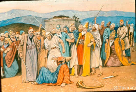 "St-Takla.org Image: And Elijah said to them, ""Seize the prophets of Baal! Do not let one of them escape!"" So they seized them; and Elijah brought them down to the Brook Kishon and executed them there (1 Kings 18:40) صورة في موقع الأنبا تكلا: بنو إسرائيل يمسكون أنبياء البعل حسب أمر إيليا النبي ويقتلونهم (ملوك الأول 18: 40)"