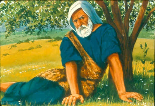 St-Takla.org Image: But Elijah himself went a day's journey into the wilderness, and came and sat down under a broom tree (1 Kings 19:4-7) صورة في موقع الأنبا تكلا: إيليا ينام تحت رتمة (شجرة) (ملوك الأول 19: 4-7)