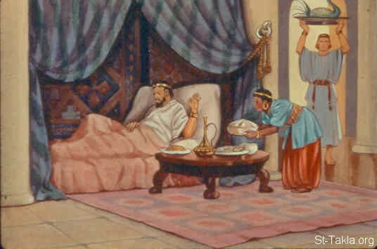 "St-Takla.org Image: So Ahab went into his house sullen and displeased because of the word which Naboth the Jezreelite had spoken to him; for he had said, ""I will not give you the inheritance of my fathers."" And he lay down on his bed, and turned away his face, and would eat no food. (1 Kings 21:4) صورة في موقع الأنبا تكلا: أخاب الملك مكتئب ومغموما بسبب نابوت (ملوك الأول 21: 4)"
