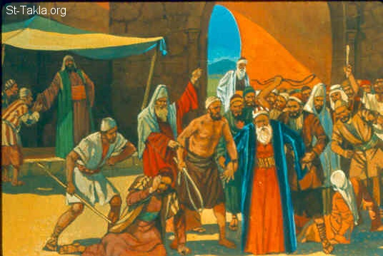 "St-Takla.org Image: Then they took Naboth outside the city and stoned him with stones, so that he died. Then they sent to Jezebel, saying, ""Naboth has been stoned and is dead."" (1 Kings 21:13-14) صورة في موقع الأنبا تكلا: ""نابوت اليزرعيلي"" يرجم بالحجارة (ملوك الأول 21: 13-14)"