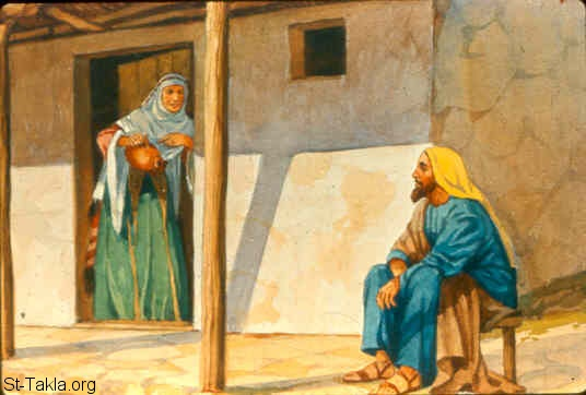 "St-Takla.org Image: So she went from him and shut the door behind her and her sons, who brought the vessels to her; and she poured it out. Now it came to pass, when the vessels were full, that she said to her son, ""Bring me another vessel."" And he said to her, ""There is not another vessel."" So the oil ceased. Then she came and told the man of God. And he said, ""Go, sell the oil and pay your debt; and you and your sons live on the rest."" (2 Kings 4:5-7) صورة في موقع الأنبا تكلا: أليشع يقول للأرملة ""اذهبي بيعي الزيت"" (ملوك الثاني 4: 5-7)"