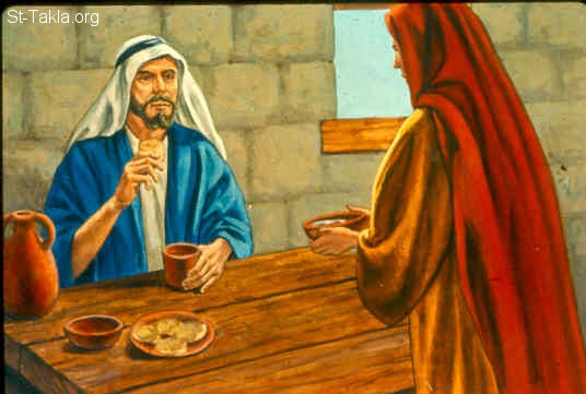 St-Takla.org Image: Now it happened one day that Elisha went to Shunem, where there was a notable woman, and she persuaded him to eat some food. So it was, as often as he passed by, he would turn in there to eat some food. (2 Kings 4:8) صورة في موقع الأنبا تكلا: امرأة شونمية تطلب من أليشع أن يأكل خبزا عندها (ملوك الثاني 4: 8)