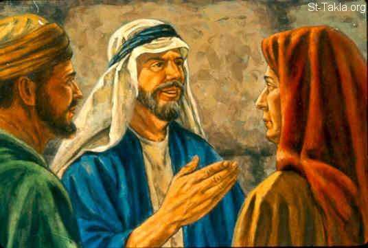 "St-Takla.org Image: So Elisha said, ""Call her."" When Gehazi had called her, she stood in the doorway. Then he said, ""About this time next year you shall embrace a son."" And she said, ""No, my lord. Man of God, do not lie to your maidservant!"" (2 Kings 4:15-16) صورة في موقع الأنبا تكلا: أليشع يعد المرأة بأنه سيكون لها ولد بعد عام (ملوك الثاني 4: 15-16)"
