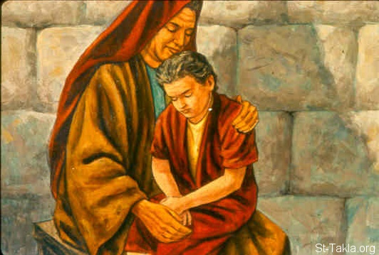 St-Takla.org Image: When he had taken him and brought him to his mother, he sat on her knees till noon, and then died. And she went up and laid him on the bed of the man of God, shut the door upon him, and went out. (2 Kings 4:20-21) صورة في موقع الأنبا تكلا: الطفل يموت بين يدي أمه (ملوك الثاني 4: 20-21)