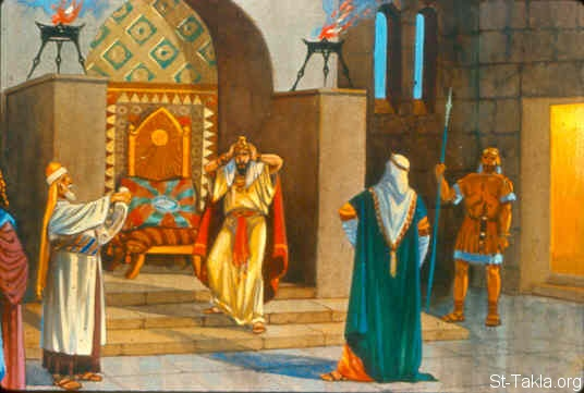 "St-Takla.org Image: And it happened, when the king of Israel read the letter, that he tore his clothes and said, ""Am I God, to kill and make alive, that this man (Naaman) sends a man to me to heal him of his leprosy? Therefore please consider, and see how he seeks a quarrel with me."" (2 Kings 5:7) صورة في موقع الأنبا تكلا: ملك إسرائيل يقابل نعمان ويقرأ رسالة ملك أرام (ملوك الثاني 5: 7)"