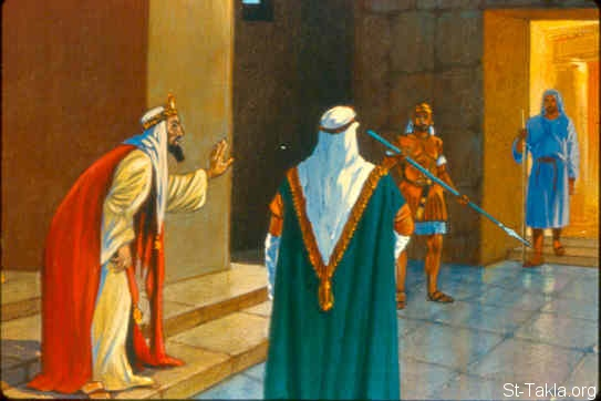 "St-Takla.org Image: So it was, when Elisha the man of God heard that the king of Israel had torn his clothes, that he sent to the king, saying, ""Why have you torn your clothes? Please let Naaman come to me, and he shall know that there is a prophet in Israel."" (2 Kings 5:8) صورة في موقع الأنبا تكلا: أليشع يرسل رسولا لملك إسرائيل لكي يقابل نعمان (ملوك الثاني 5: 8)"