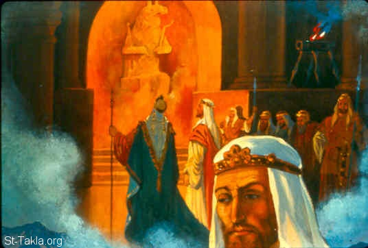 "St-Takla.org Image: Naaman said to Elisha: ""Yet in this thing may the LORD pardon your servant: when my master goes into the temple of Rimmon to worship there, and he leans on my hand, and I bow down in the temple of Rimmon; when I bow down in the temple of Rimmon, may the LORD please pardon your servant in this thing."" (2 Kings 5:18) صورة في موقع الأنبا تكلا: نعمان يقول لأليشع انه سوف يسجد في بيت رمون للرب (ملوك الثاني 5: 18)"