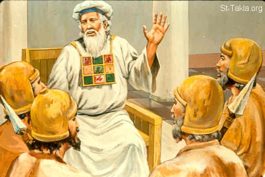 St-Takla.org Image: In the seventh year Jehoiada sent and brought the captains of hundreds; of the bodyguards and the escorts; and brought them into the house of the LORD to him. And he made a covenant with them and took an oath from them in the house of the LORD, and showed them the king's son. (2 Kings 11:4) صورة في موقع الأنبا تكلا: يهوياداع الكاهن يدخل للجلادين والسعاة لبيت الرب (ملوك الثاني 11: 4)