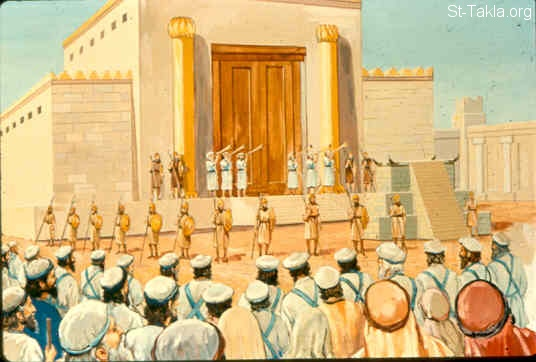 St-Takla.org Image: The bodyguards and the escorts of the house of the lord to guard Joash (2 Kings 11:9-11) صورة في موقع الأنبا تكلا: خدام بيت الرب يقفون حراسًا ليوآش (ملوك الثاني 11: 9-11)
