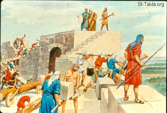 Image: The people building the wall of Jerusalem<br>صورة الشعب يبني سور أورشليم