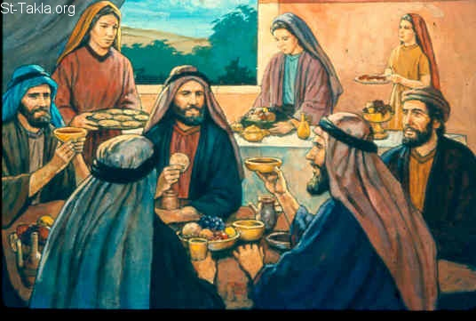 St-Takla.org Image: His sons would go and feast in their houses, each on his appointed day (Job 1:4) صورة في موقع الأنبا تكلا: كانوا أولاده يعملون وليمة في أحد الأيام (أيوب 1: 4)