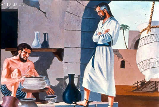 St-Takla.org Image: Jeremiah watches the potter (Jeremiah 18:1-10) ���� �� ���� ������ ����: ����� ����� ������� (����� 18: 1-10)