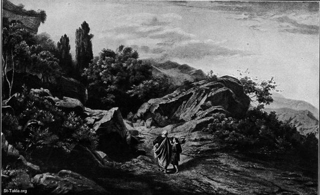St-Takla.org Image: Abraham climbs mountain Moriah (Mt.) with Isaac His son, by Schirmer (Gen. 22:2) ���� �� ���� ������ ����: ������� ��� ������ ���� ��� ��� ������ �� ���� ���� ���� ������ ����� (������� 22: 2)