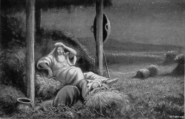 St-Takla.org Image: Ruth sleeps at the feet of Boaz, by W. Montague Cary (Ruth 3:8) ���� �� ���� ������ ����: ����� ���� � ����� ��� ���� ���ҡ ��� ������ �. ������ ���� (����� 3: 8)