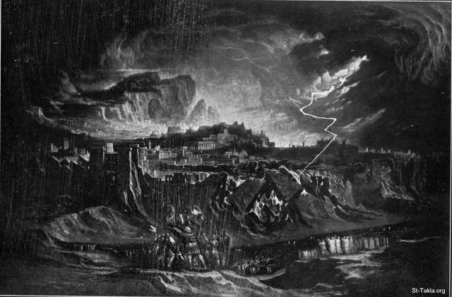 "St-Takla.org Image: Jericho falls - Joshua 6:20 - John Martin - from ""The Bible and its Story"" book, authored by Charles Horne, 1909 ���� �� ���� ������ ����: ���� ����� (���� 6: 20)� ��� ����� - �� ���� ""������� �����""� ����� ������ ���� 1909"