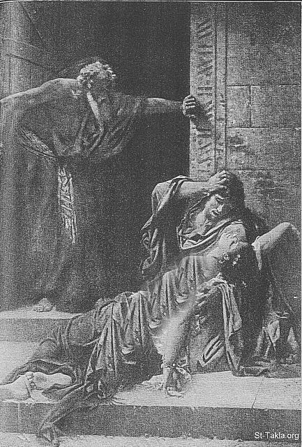 "St-Takla.org Image: The Levite's concubine killed by the Benjaminites after being raped, and seen in the image also the host of Gibeah (Judges 19:27) - Gabriel Guay - from ""The Bible and its Story"" book, authored by Charles Horne, 1909 صورة في موقع الأنبا تكلا: مقتل سرية اللاوي بعد اغتصابها، على أعتاب باب بيت الرجل المضيف في جبعة (سفر القضاة 19: 27) - من كتاب ""الإنجيل وقصته""، إصدار تشارلز هورن، 1909"