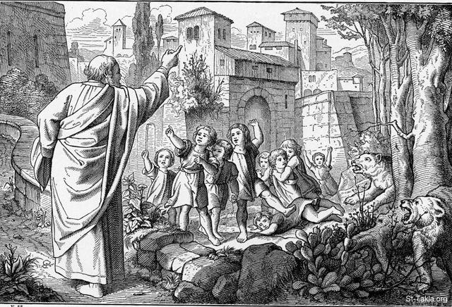 "St-Takla.org Image: ""Then he went up from there to Bethel; and as he was going up the road, some youths came from the city and mocked him, and said to him, ""Go up, you baldhead! Go up, you baldhead!"" So he turned around and looked at them, and pronounced a curse on them in the name of the Lord. And two female bears came out of the woods and mauled forty-two of the youths."" (2 Kings 2: 23-24) - from ""The Bible and its Story"" book, authored by Charles Horne, 1909. صورة في موقع الأنبا تكلا: ""ثم صعد من هناك إلى بيت إيل. وفيما هو صاعد في الطريق إذا بصبيان صغار خرجوا من المدينة وسخروا منه وقالوا له: «اصعد يا أقرع! اصعد يا أقرع!». فالتفت إلى ورائه ونظر إليهم ولعنهم باسم الرب، فخرجت دبتان من الوعر وافترستا منهم اثنين وأربعين ولدا"" (الملوك الثاني 2: 23-24) - من كتاب ""الإنجيل وقصته""، إصدار تشارلز هورن، 1909."