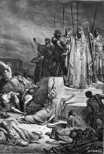 "St-Takla.org Image: The Assyrian tyrants in Israel. Dore. (Isaiah 33:8) - from ""The Bible and its Story"" book, authored by Charles Horne, 1909 ���� �� ���� ������ ����: ������ ��������� �� ������� (������ 33: 8)� ��� ������ ����� - �� ���� ""������� �����""� ����� ������ ���� 1909"