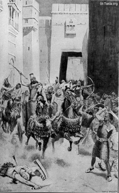 St-Takla.org Image: The ravage of Nineveh. William Paget. Nahum 2:4 ���� �� ���� ������ ����: ���� �����: ���� �������� �� ������ ������ �� ������� ������ ������� ���� ������� - ��� ������ ����� ������ - ����� 2: 4
