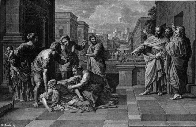 St-Takla.org Image: Sapphira's punishment with death at the feet of Saint Peter (the wife of Ananias). Nicolas Poussin. Acts 5. BX.51 ���� �� ���� ������ ����: ���� ����� ���� ������ ������ ��� ���� ������ ���� ������ - ��� ������ ������� ����� - ����� ����� 5