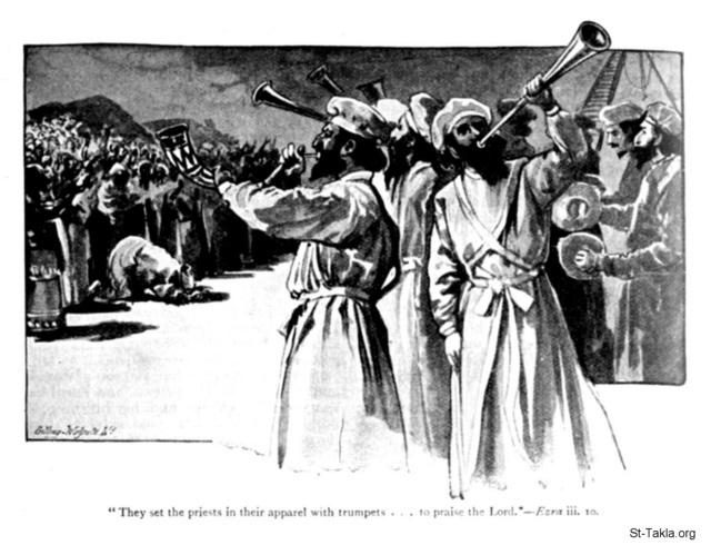 Image: ezra 3 10 they set the priests with trumpets